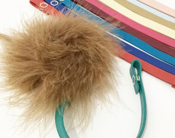 Brown Fur pacifier clip feather great gift leather pacifier clip