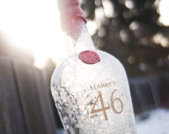 Iced Makers a Fine Art Photograph of a Makers Mark 46 Bourbon Whiskey Bottle Frozen in the Morning Sun - Bar Decor