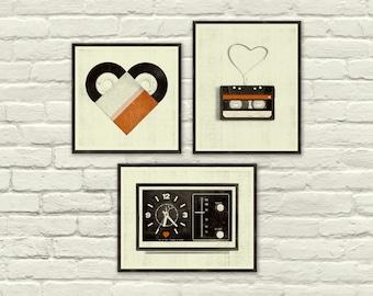 VINTAGE MUSIC LOVE - 8 x 10, 8 x 8 Art Prints, Posters, Heart, Valentine's Day, Cassette Tape, Vinyl, Clock, Radio, Music, Nursery, Hipster