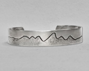 Mountains  Cuff Bracelet. Men's bracelet, Women's bracelet, Matte Silver or Antique brass.  Mountain range jewelry