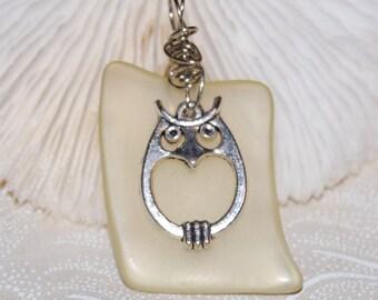 Owl Yellow Glass Pendant Handmade Recycled Jewelry
