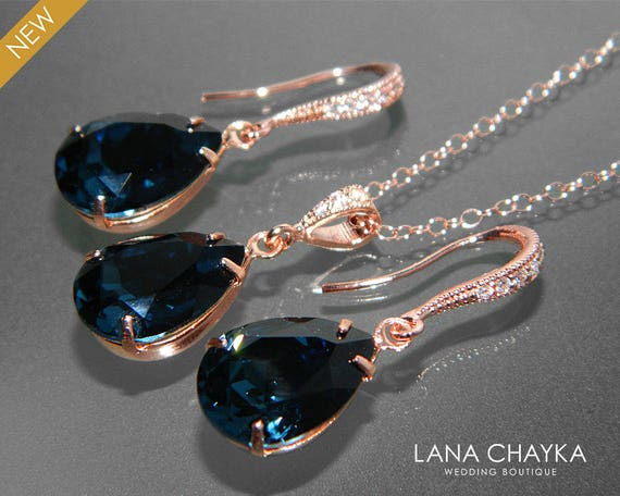 Navy Blue Rose Gold Jewelry Set Blue EarringsNecklace Bridal