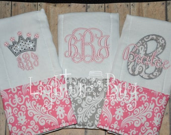 Monogram Damask Princess Burp Rag Set