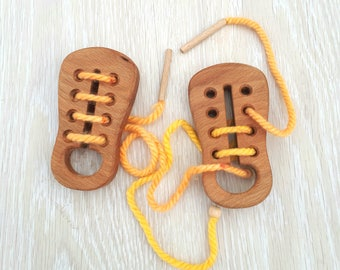 Wooden Lacing Toy, Wooden shoe toy, Learn to tie shoe,  Educational Toy, Sewing Toy, Learning toys, Threading Toy, Motor Skills toy