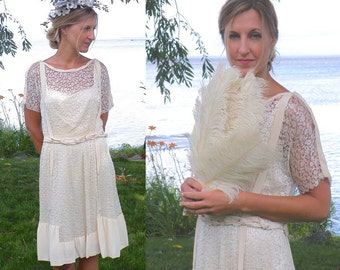1920s Flapper Dress, 20s Dress, Silk and Lace Bohemian Wedding Dress, Downton Abbey Great Gatsby Dress Small