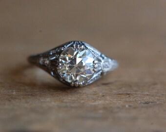 Art Deco 1.88 Old European Cut platinum diamond ring ∙ GIA certified 1.88 antique diamond engagement ring