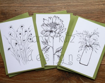 Set of 6 Coloring Blank A6 Greeting Cards with Envelopes / Original Ink Drawing Prints / Coloring Cards / All Occasion / Blank Card Set
