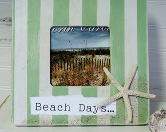 Green and White Striped Beach Days Memento Picture Frame, Beach Vacation Memory Photo Frame, Summer Decor
