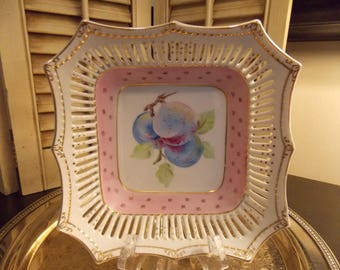 DECORATIVE CHINA Bowl, AIYO / Made in Occupied Japan Hand Painted China Dish with Reticulated Rim