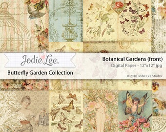 Butterfly Garden Digital Download Paper 12x12 inches Botanical Gardens (front) by Jodie Lee