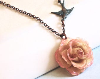 Real Rose Necklace -  Cream Pink, Flower Jewelry, Natural Preserved, Nature Jewelry, Botanical Jewelry, Bird Jewelry