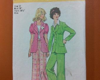 Simplicity 5642 Wide Leg Pants Jacket Slacks Suit Vintage Sewing Pattern 1970s 70s Size 12