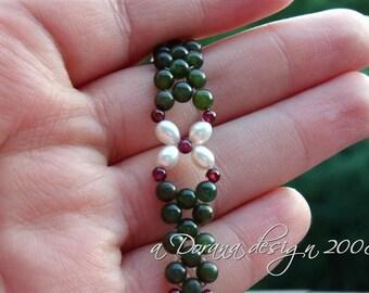 POINSETTIA Flower Weave Bracelet - Genuine Nephrite Jade, Garnet and Pearls in Sterling Silver - Handmade by Dorana