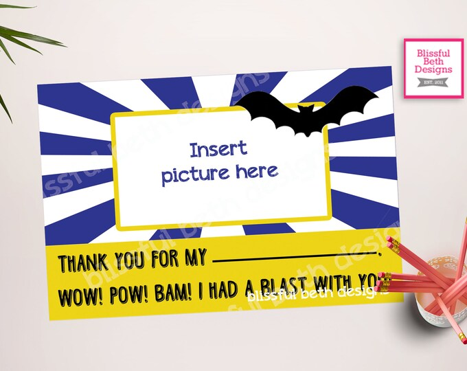 PERSONALIZED BATMAN THANKS Batman Thank You Card, Printable Batman Photo Thank You Card, Printable Batman Thank You Note, Batman Thank You