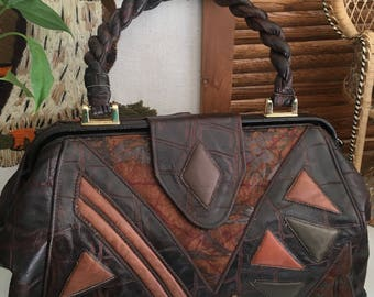 Vintage Leather Top Handle Handbag