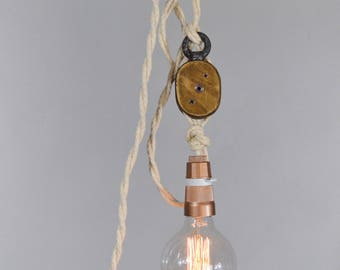 Nautical Rope + Copper Plug In Pendant Light