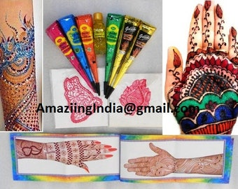 Multi-color (Green,Blue,Rose Red,Orange, Black) Total 6 Henna Cone + 2 Stencils + 1 Henna Design book + 1 Shelly Henna oil