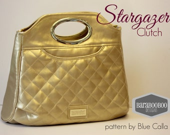 Large ladies clutch styled bag in metallic gold faux leather, handbag, evening bag