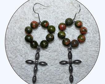 Cross Earrings, Gunmetal Cross, religious jewelry, jasper earrings, beaded earrings, dangle jewelry, cross jewelry,green jasper, Item #JCE01