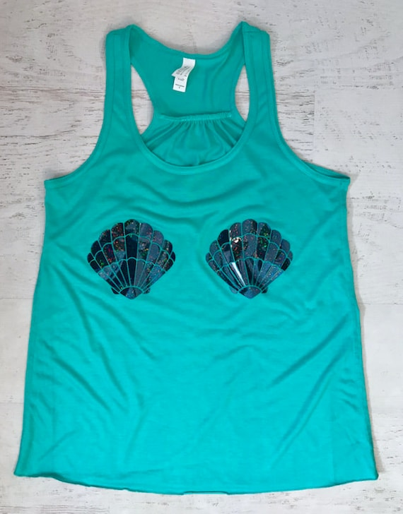Mermaid Shells Tank Top Holographic Shiny Sparkle print Women's Racerback Flowy Tank Top Pictured in Teal