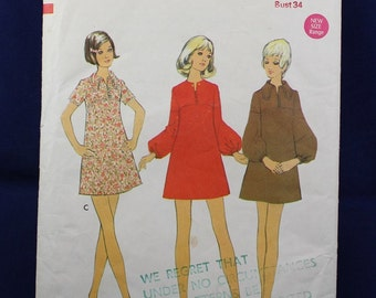 1960's Sewing Pattern for a Mini-Dress in Size 11 Junior Petite - Style 2637