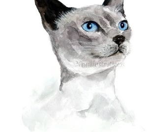 Siamese Cat Painting ORIGINAL Watercolor Art Animal Cat Lover Nursery Art illustration Hand Painted 8x10