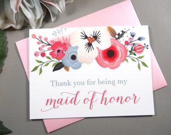 Thank You for being my MAID OF HONOR Card, Maid of Honor Thank You Card, Maid of Honor Card, Maid of Honor Gift, Wedding Thank You Cards