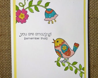 Thinking of you, Homemade, Greeting Cards, Birds, Colorful, Flowers, Bright You are Amazing