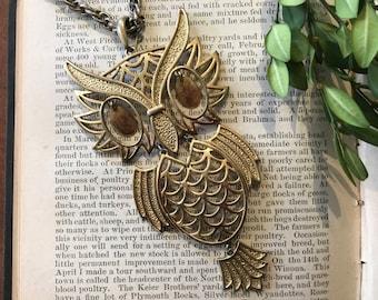 Vintage Brass Owl Pendant Chain Necklace 1970s