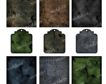 Grunge Style Steampunk Halloween Digital Backgrounds for Scrapbooks Mini Albums Atcs Collage Sheet Digital Tags