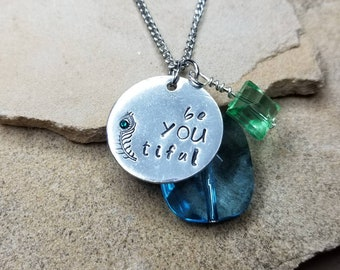 BeYOUtiful-Pewter Pebble Hand Stamped Necklace With Charms OR Customized Your Way