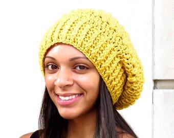 Crochet Slouchy Hat, Tam Hat, Hippie Hat, Oversize Hat, Color is Mustard,