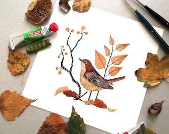 Nightingale - Giclée print , Archival Watercolor Print , Nightingale Print , Botanical Birds, Bird Print , 8 x 8 inch