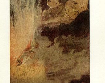 1912, The Birth of Krishna, Hindu myths Print, art print, 104 years old Asian