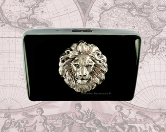 Silver Lions Head Metal Cigarette Case Inlaid in Hand Painted Black Enamel Steampunk Metal Wallet with Personalized and Color Options