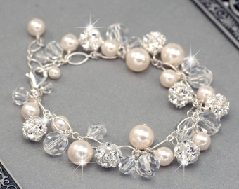 Wedding Bracelet, Bridal Charm Bracelet, Chunky Pearl, Crystal and Rhinestone Bracelet, White or Ivory Pearls, Bridal Jewelry