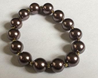 Vintage Brown Faux Pearl Stretch Bracelet