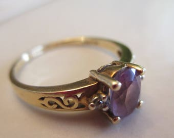Vintage 10KT Gold Amethyst Diamond Ring, Size 7 1/2. Perfect Mother's Day Gift, February Birthstone Ring, Anniversary, Gift