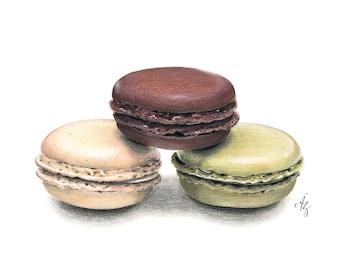 Macaroon Art Print, Macaron, Macaroon Wall Decor, Kitchen Art, Bakery art, macaron drawing, Foodart, Food Art, Macaron Art, Macaroon