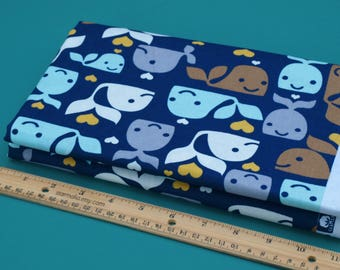 1/2 Yard Novelty Cotton Fabric Whales Allover