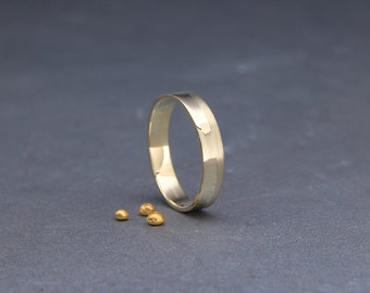 14k Gold Women's Wedding Ring | Handmade Solid 14K Gold Wedding Flat Band | Matte Gold Wedding Band | 3mm, 4mm, 5mm, 6mm, 7mm