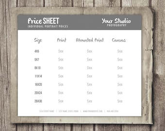 Price Sheet for Photographers  - Photographer Portrait Pricing Template - Photography Business Marketing Sheet INSTANT DOWNLOAD