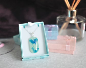 Abstract floral fused glass necklace