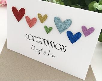 Lesbian Wedding Card Rainbow Heart Design Lesbian Wedding Gift Same Sex Gay Marriage Gift Lesbian Gay Couple Gift Lesbian Engagement Card