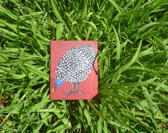 paintings on wood: Guinea fowl