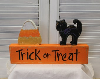Halloween Candy Corn, Cat, Block Set