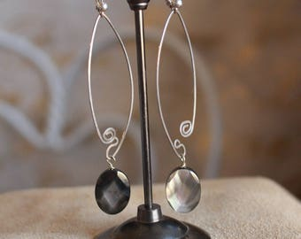 Faceted mother of pearl earrings