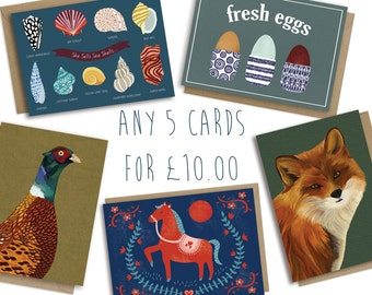 Card Bundle any 5 Greetings Cards for 10 Pounds, Quirky Fun Illustrated Greetings Cards, Blank for own Message, Mix & Match Designs