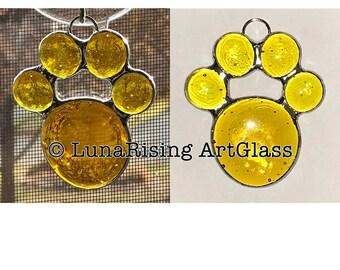 Yellow Paw Print Ornament Suncatcher **FREE Shipping in USA**