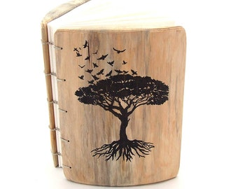 Wood Journal - Rustic Guest Book - Coptic Binding - Tree of Life - Diary - Personalized